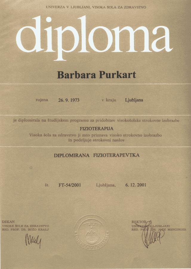 diploma diplomirane fizioterapevtke v Ljubljani