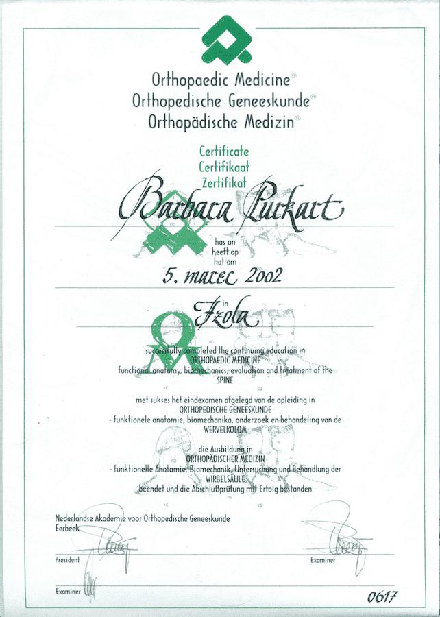 diploma ortopedska medicina fizioterapija ljubljana