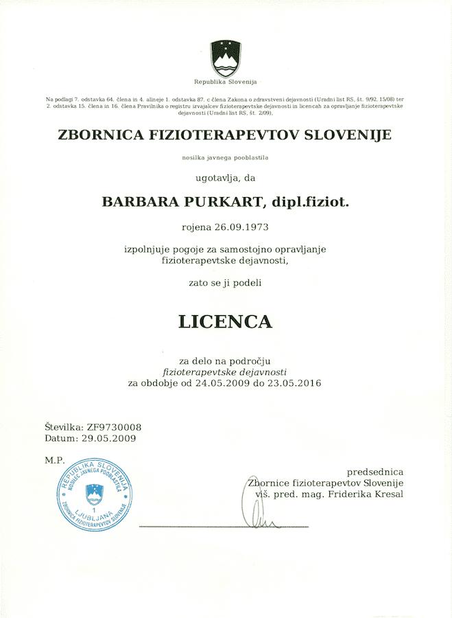 licenca strokovni fizioterapevt ljubljana
